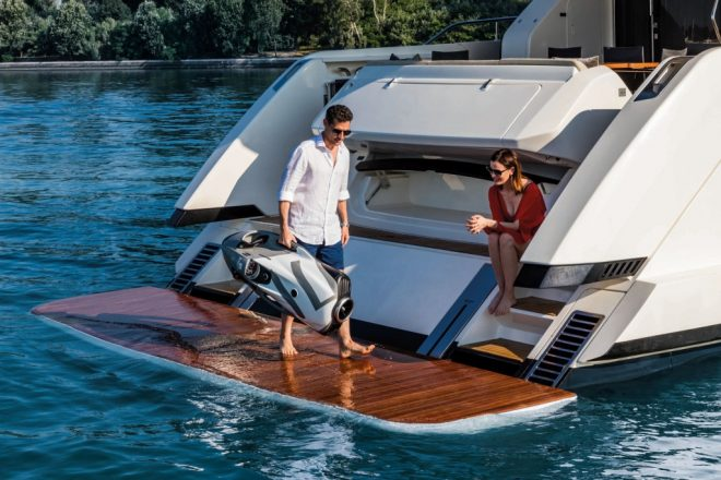 The hydraulic swim platform on the Ferretti Yachts 670 can gently glides down into the water