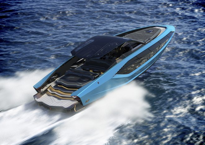The Tecnomar for Lamborghini 63 will reach 60 knots with twin MAN V12 2,000hp engines