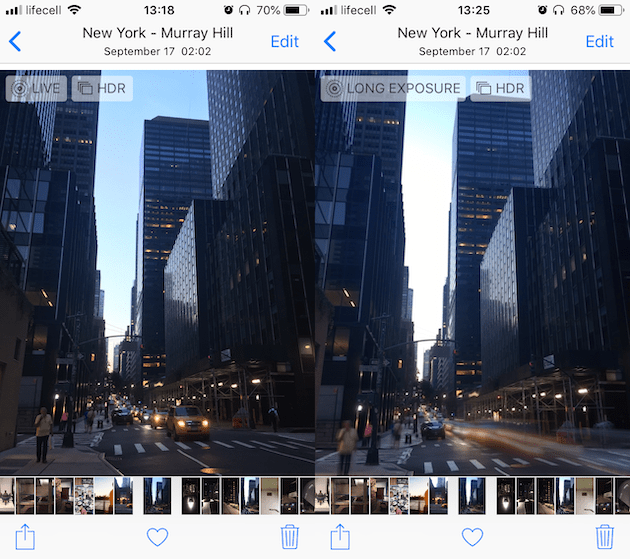 Screenshots: How to convert Live Photos to long exposure on iPhone