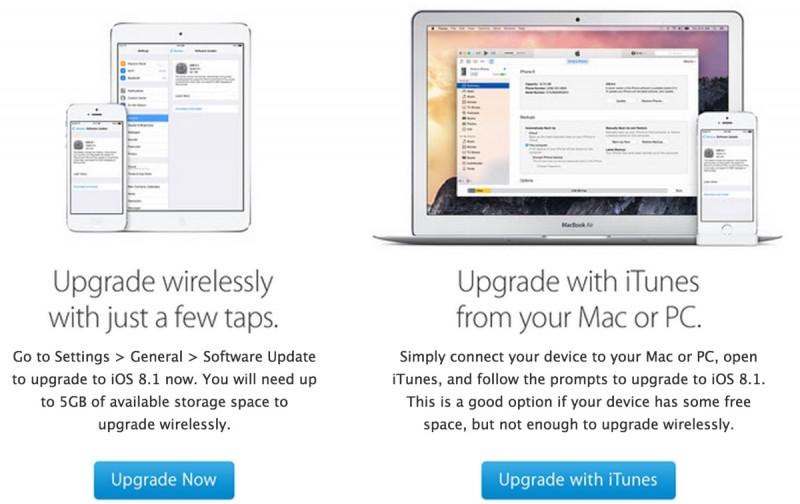 Apple che invia i email che incoraggiano i clienti a migliorare allIOS 8