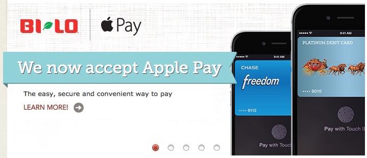 La Banca di SunTrust e BI LO, Winn Dixie, drogherie di Harveys aggiungono lappoggio di paga di Apple