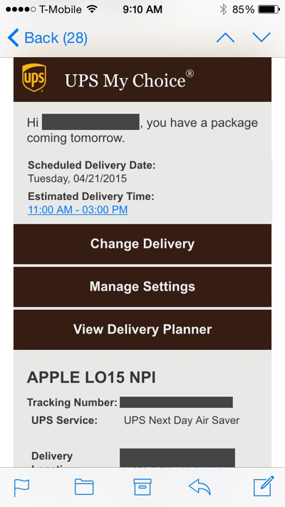 UPS Tracking Numbers Start Trickling Out to Apple Watch