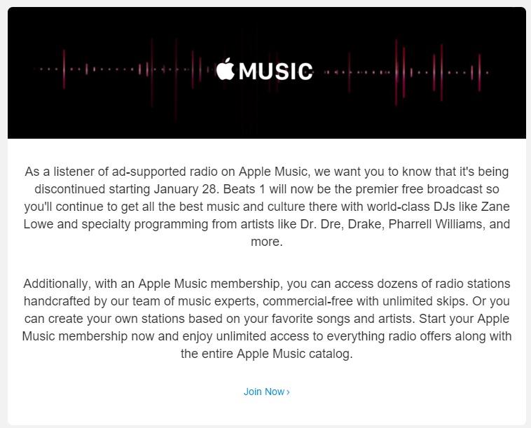 Apple che conclude le stazioni radio Annuncio Di sostegno di iTunes alla fine di gennaio