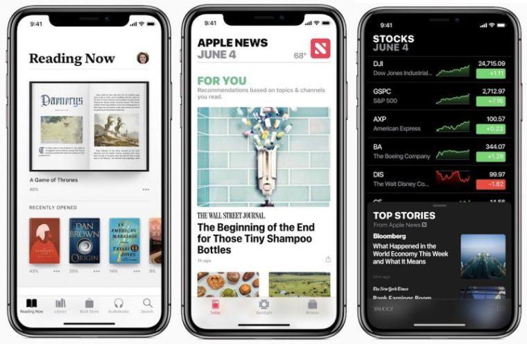 iOS 12 books news stocks 800x522 - تعرف على الميزات الجديدة والتحسينات التي ستطرحها آبل في نظام IOS 12