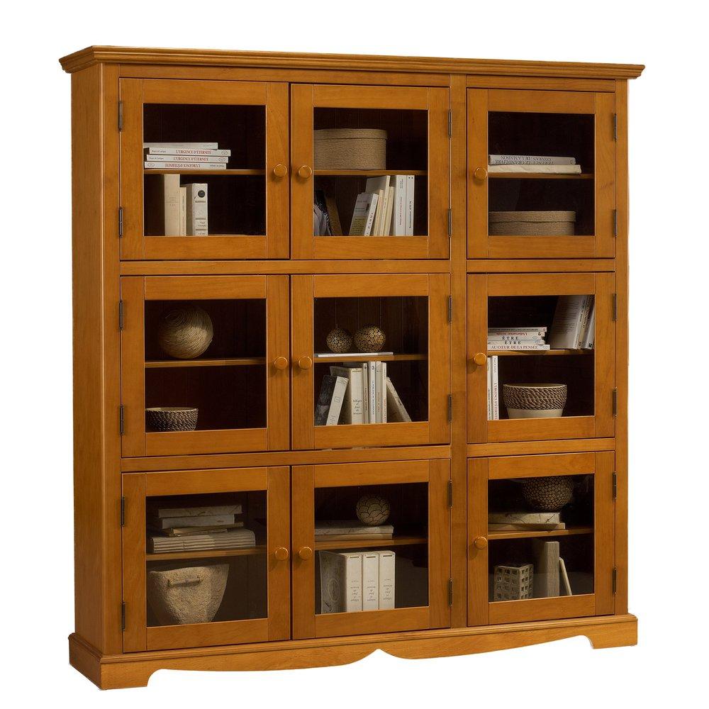 bibliotheque 9 portes vitrees en pin miel authentic pin miel