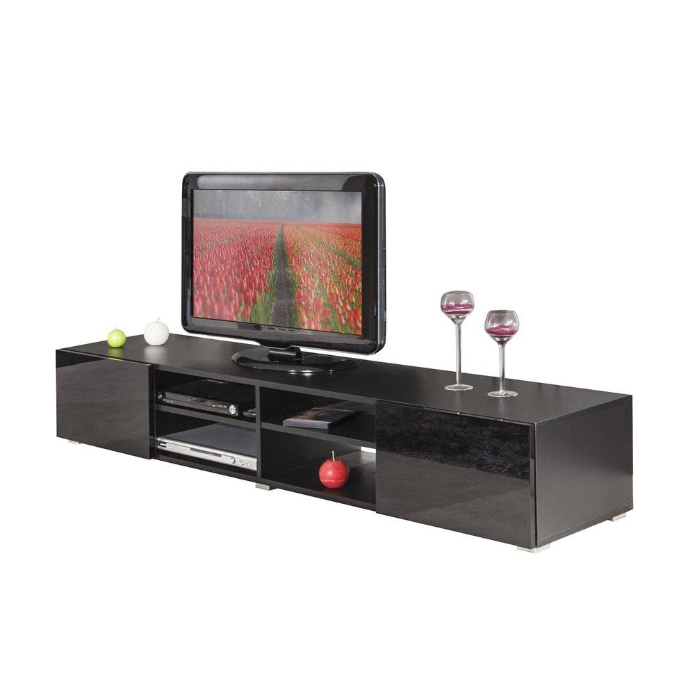 meuble tv noir 4 niches 2 tiroirs noir laque