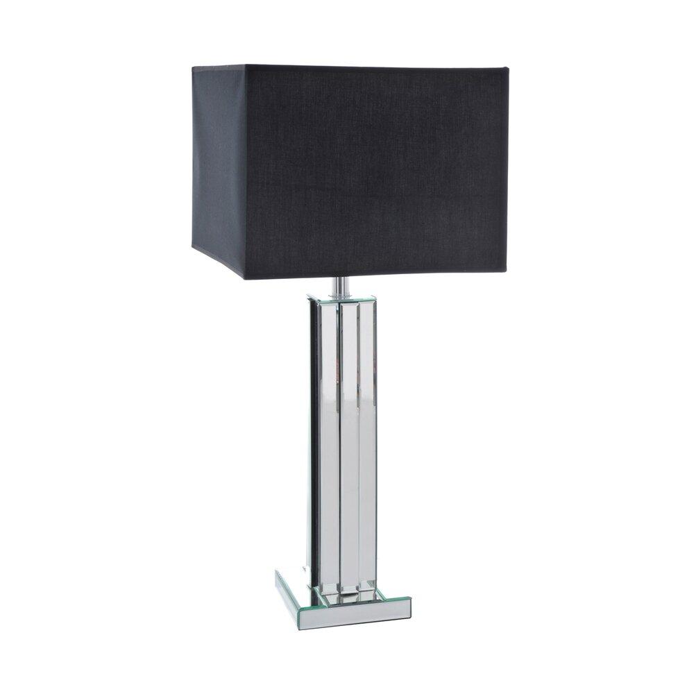 lampe et abat jour rectangulaire barre miroir verre coloris noir