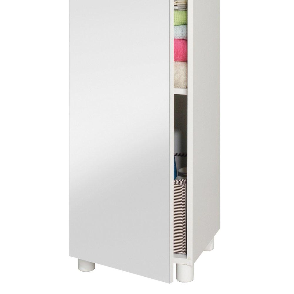 colonne simple 1 porte avec miroir largeur 35cm coloris blanc