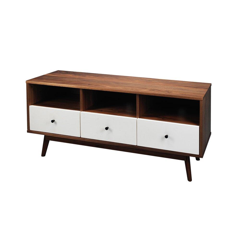meuble tv noyer massif 3 tiroirs bois et blanc malmo