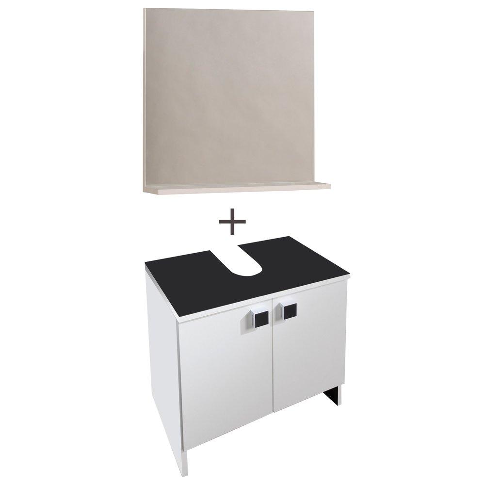 Ensemble Miroir Meuble Sous Vasque Coloris Blanc Maison Et Styles