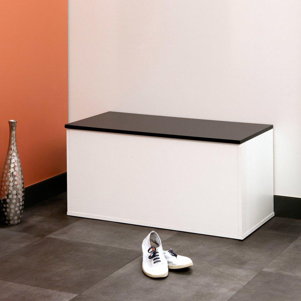 banc a chaussures 15 paires decor blanc et noir luce
