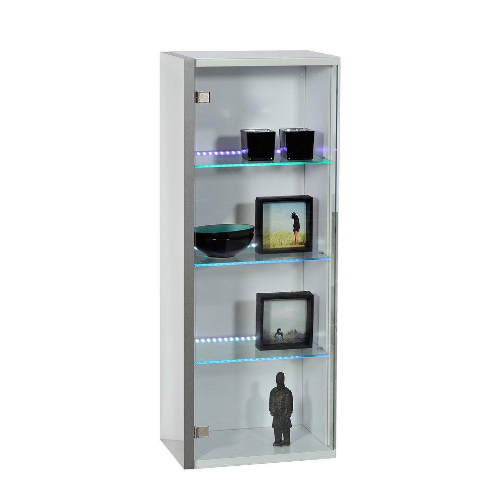 etagere suspendue avec leds porte verre 43x30x110 coloris blanc laque