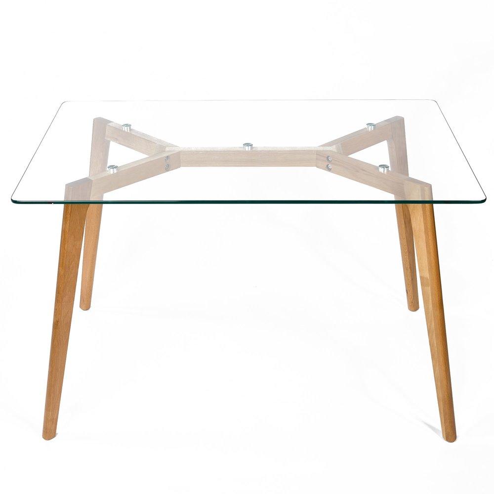 table en bois 120x80x75cm plateau en verre