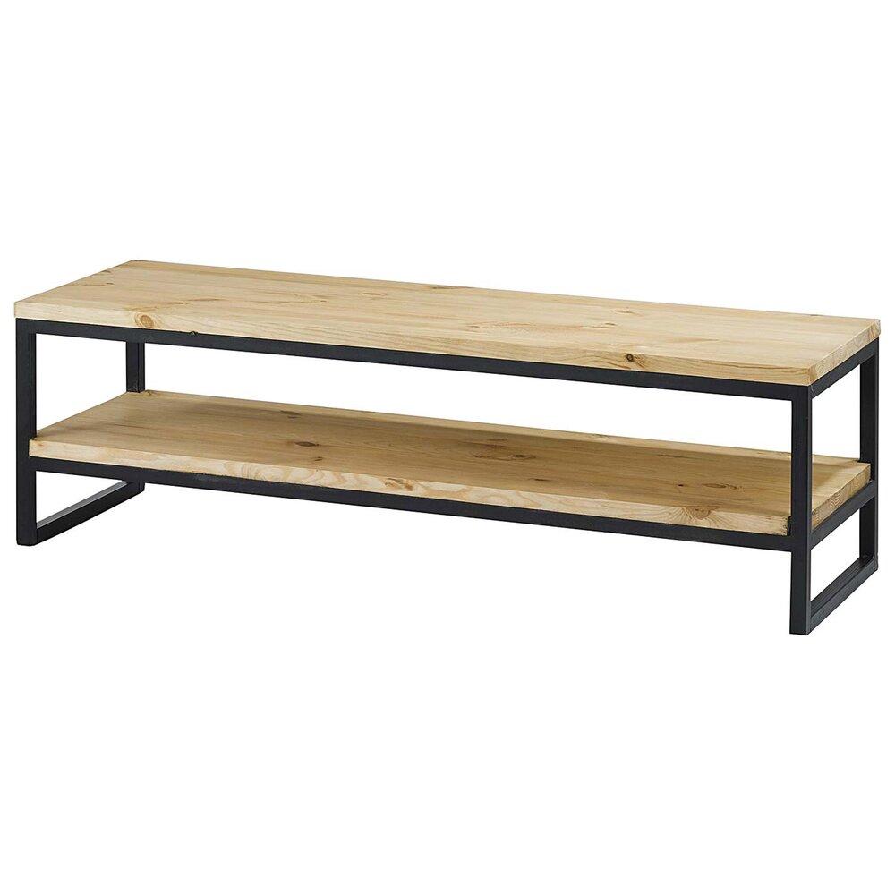 meuble tv double plateau bois et metal 130 cm ciudad