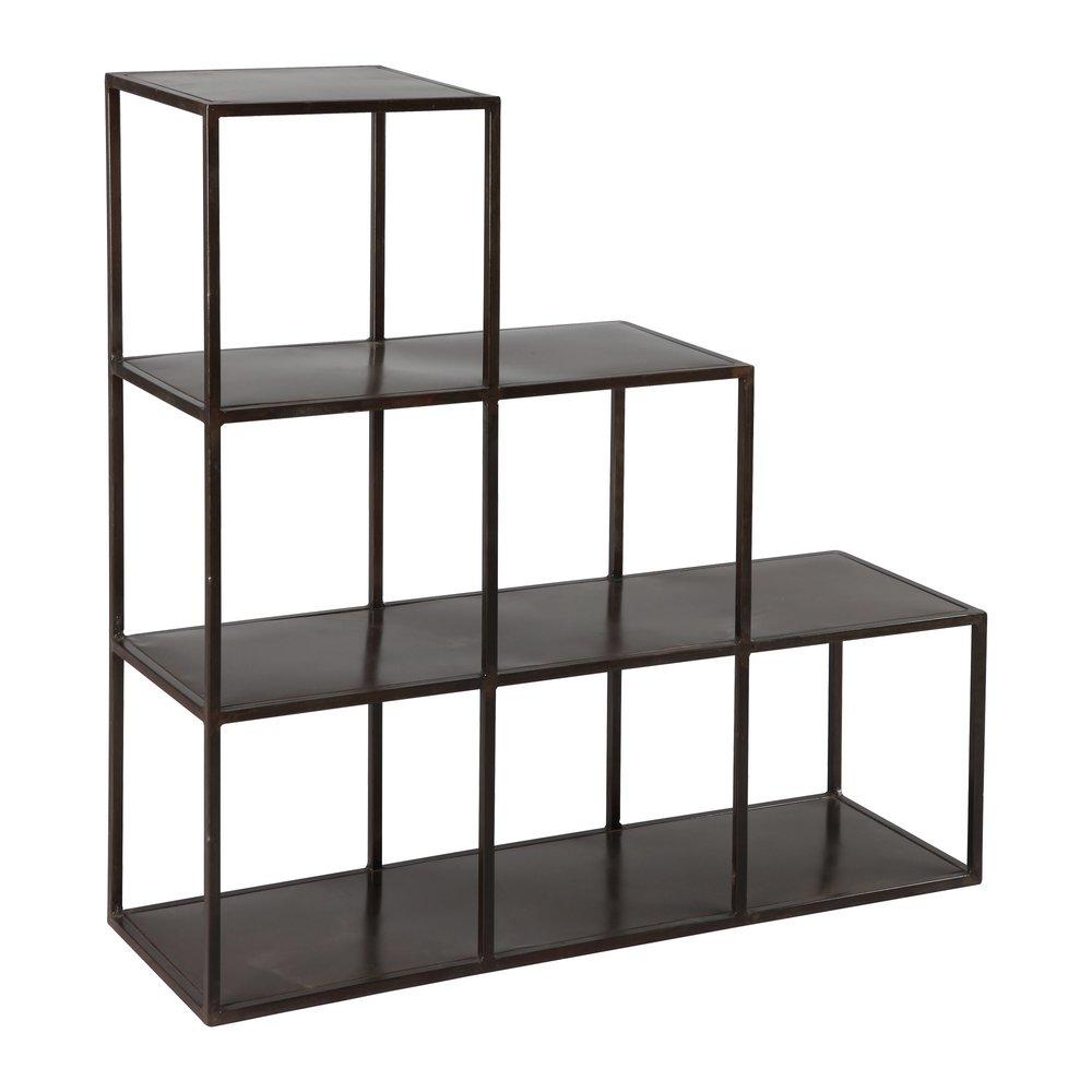 etagere escalier en acier coloris noir atelier metal
