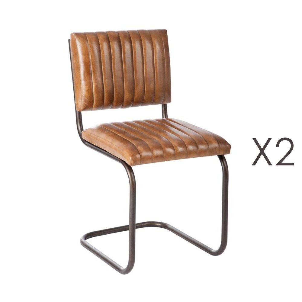 lot de 2 chaises en cuir et metal cognac 43x47x87cm
