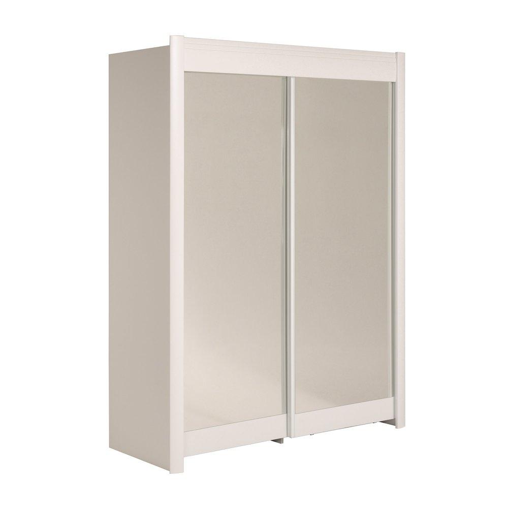 armoire 2 portes vitrees 157x207x60 5cm 1 2 penderie 1 2 lingere blanc