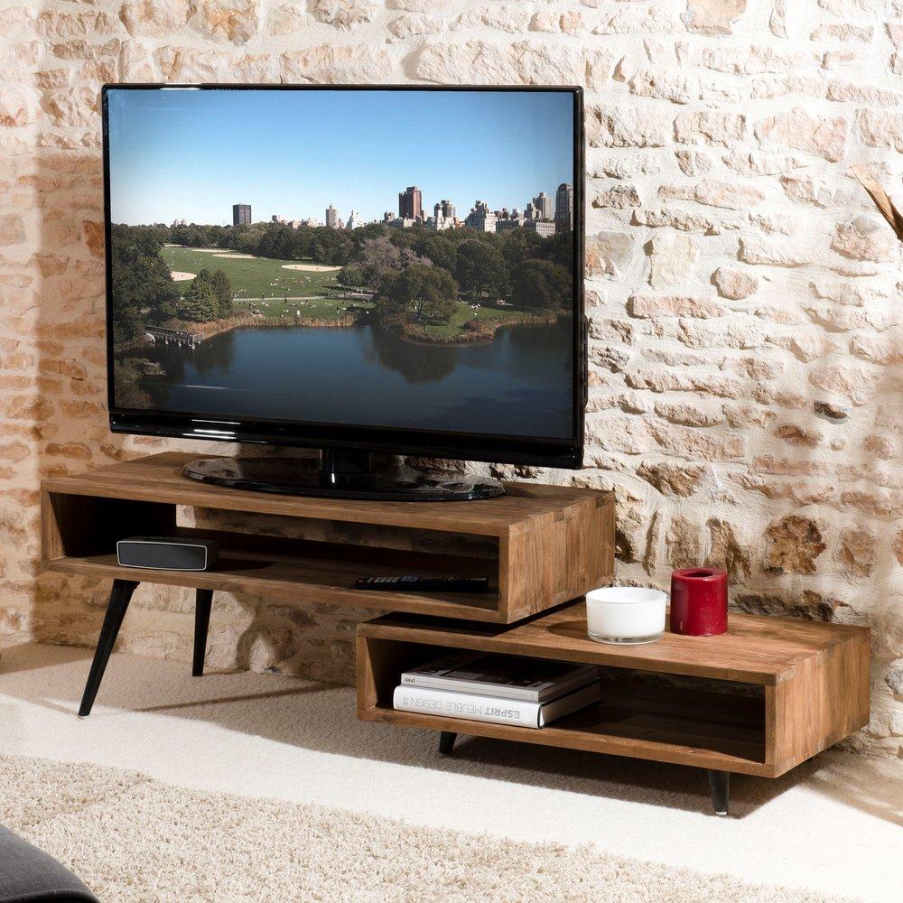 meuble tv rotatif en teck recycle appoline