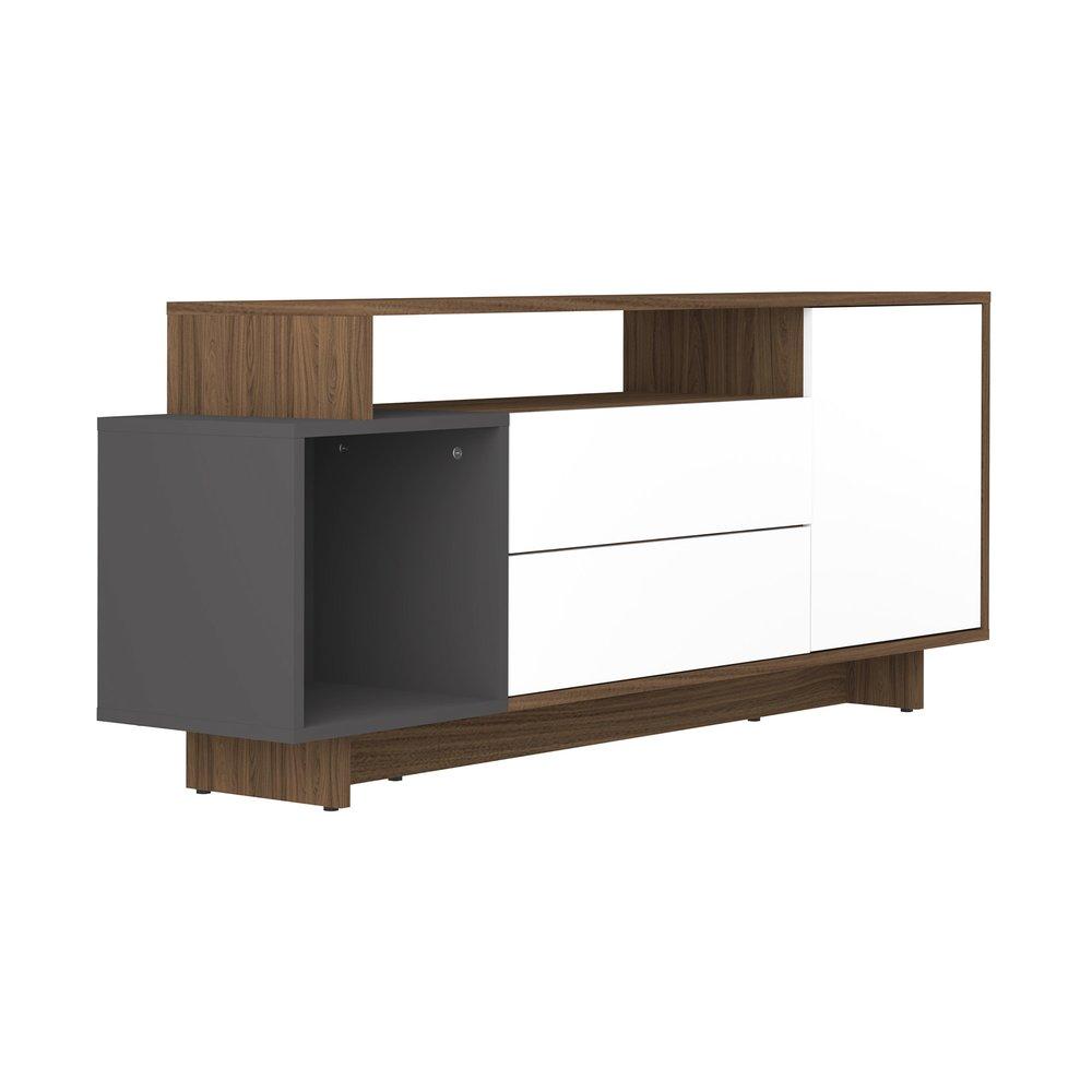 meuble tv 1 porte et 2 abattants en noyer et anthracite aude