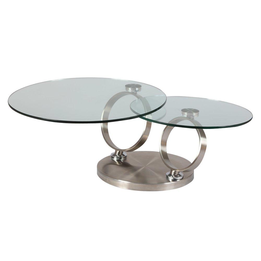 table basse en verre trempe et metal kandinsky