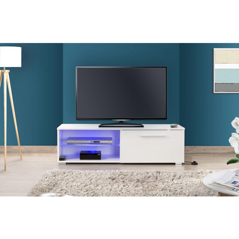 meuble tv 120 cm avec led blanc tays