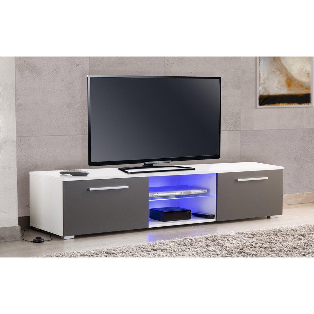 meuble tv avec led blanc et gris usaha