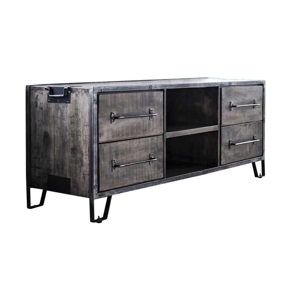 meuble tv 4 tiroirs 2 niches 150x46x60 cm en manguier et acier antik