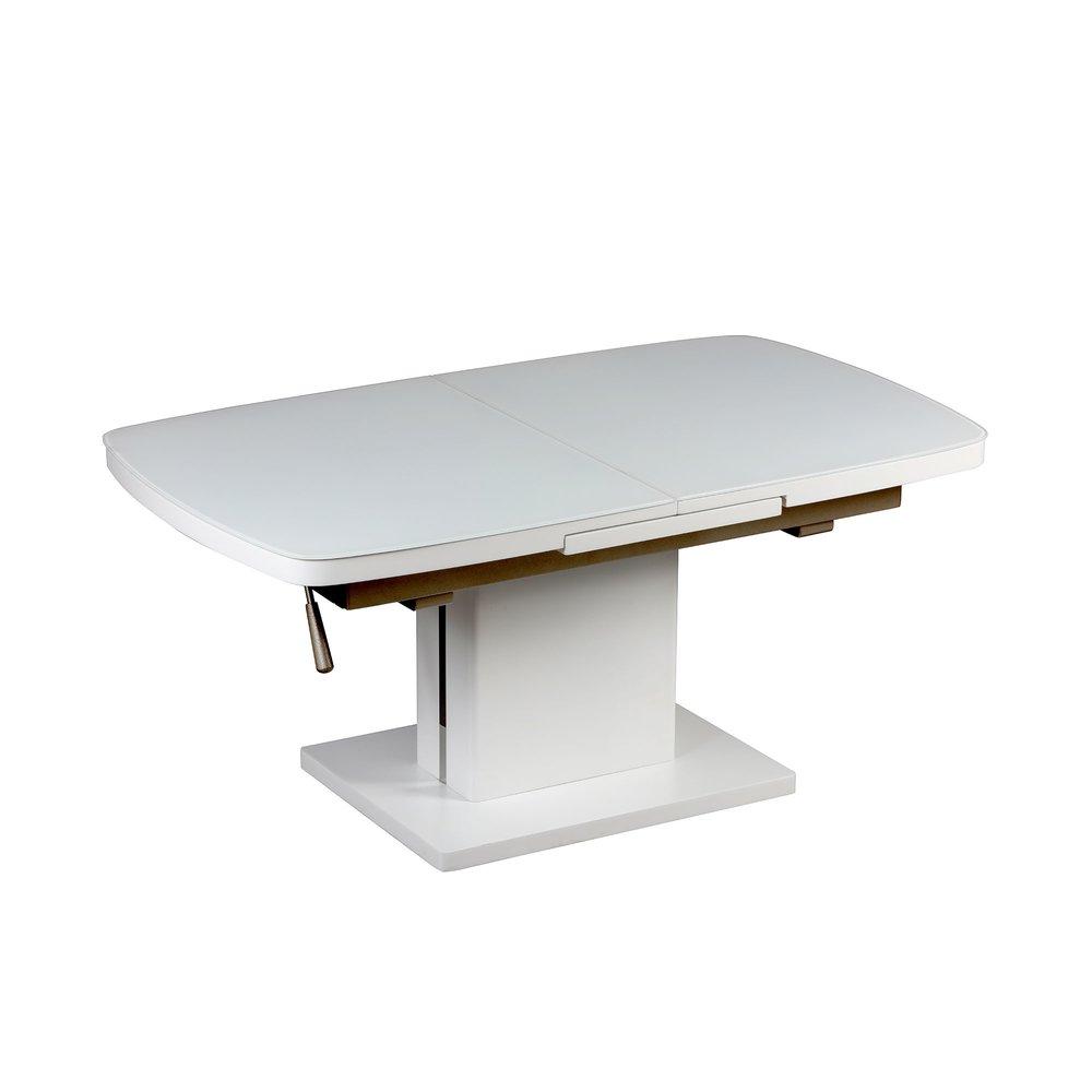 table basse relevable extensible 120 155 x 70cm en verre et blanc laque