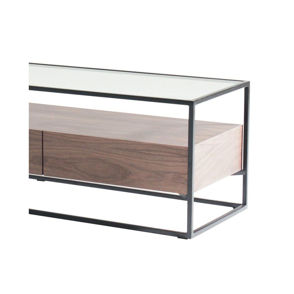 meuble tv en verre trempe bois et metal aspen