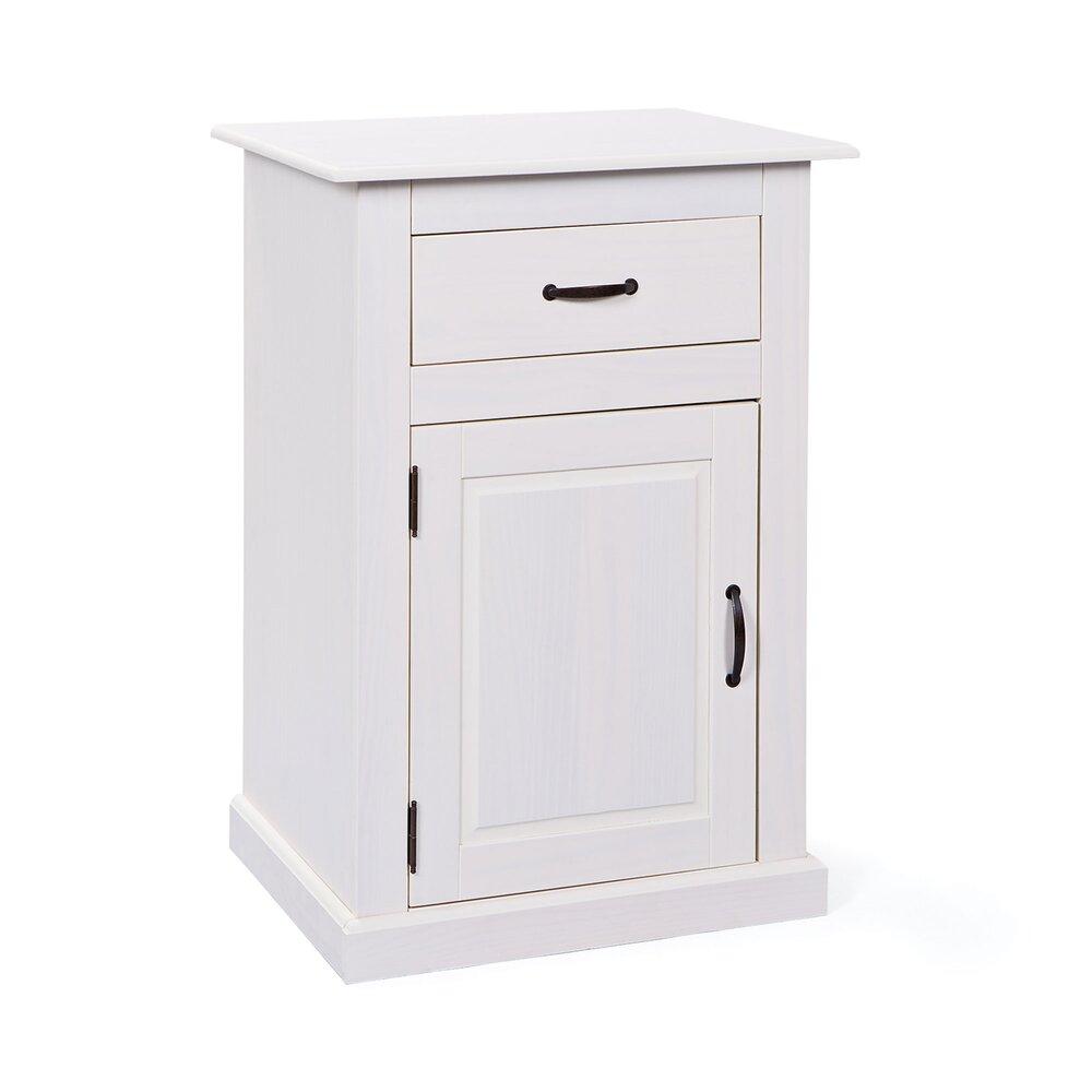 meuble 1 porte et 1 tiroir en pin massif blanc aubagne