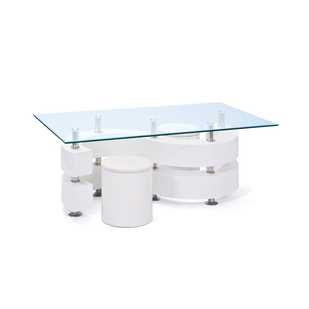 table basse s avec 2 poufs laque blanc bright