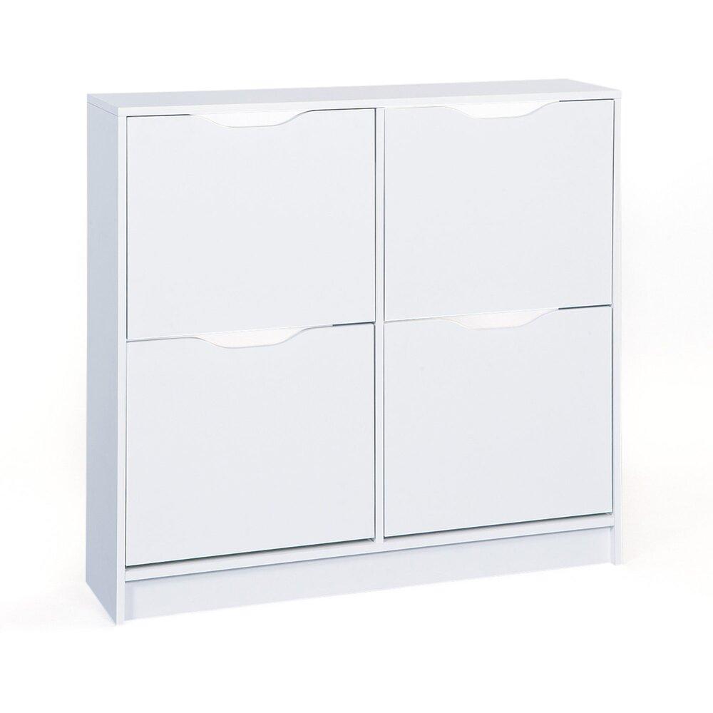 meuble a chaussures 4 portes blanc bruce