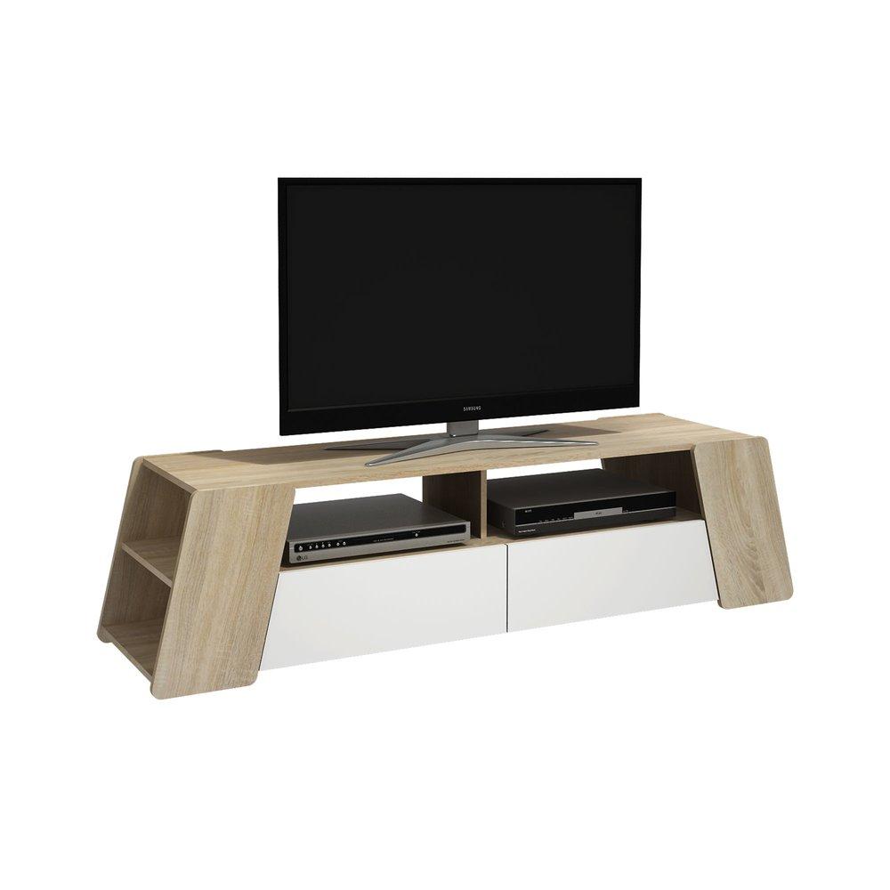 meuble tv 160 cm en bois naturel et blanc
