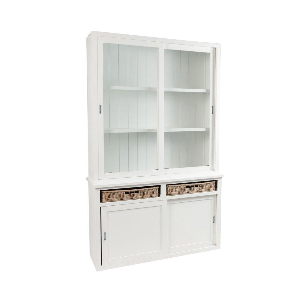 buffet vaisselier 2 portes en bois blanc et 2 paniers nankin
