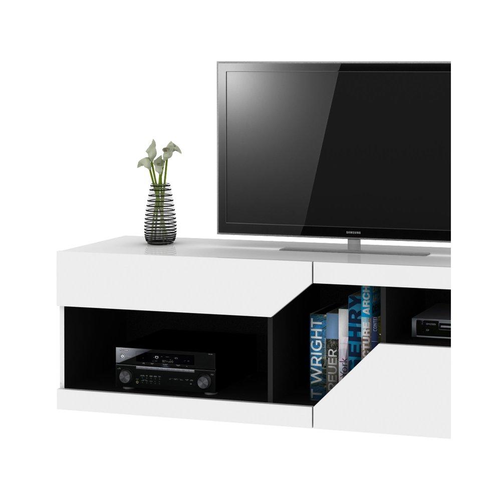 meuble tv design 159x46x41 cm blanc