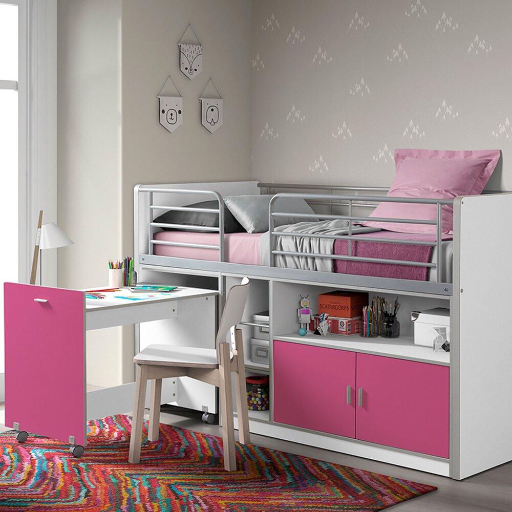 lit combine 90x200 cm avec bureau et rangements fuchsia assia