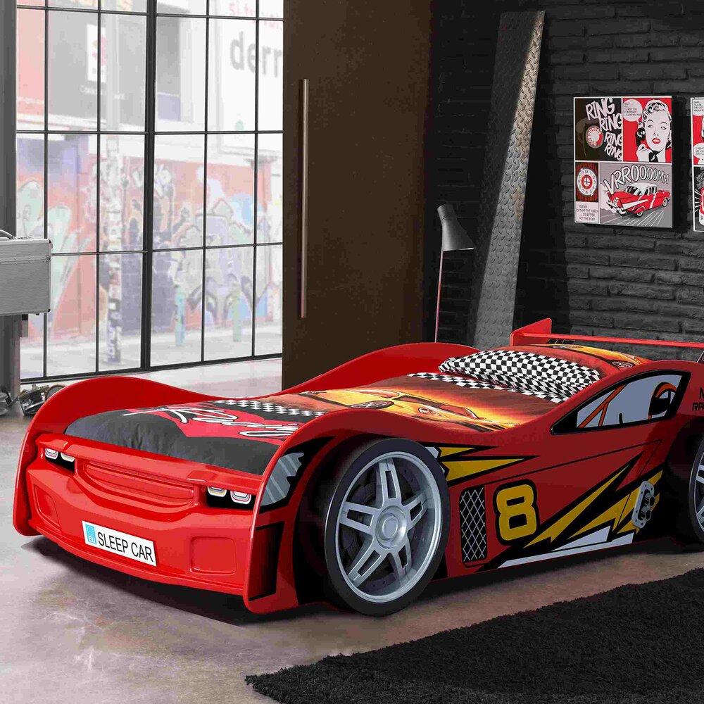 lit voiture 90x200 cm rouge carino