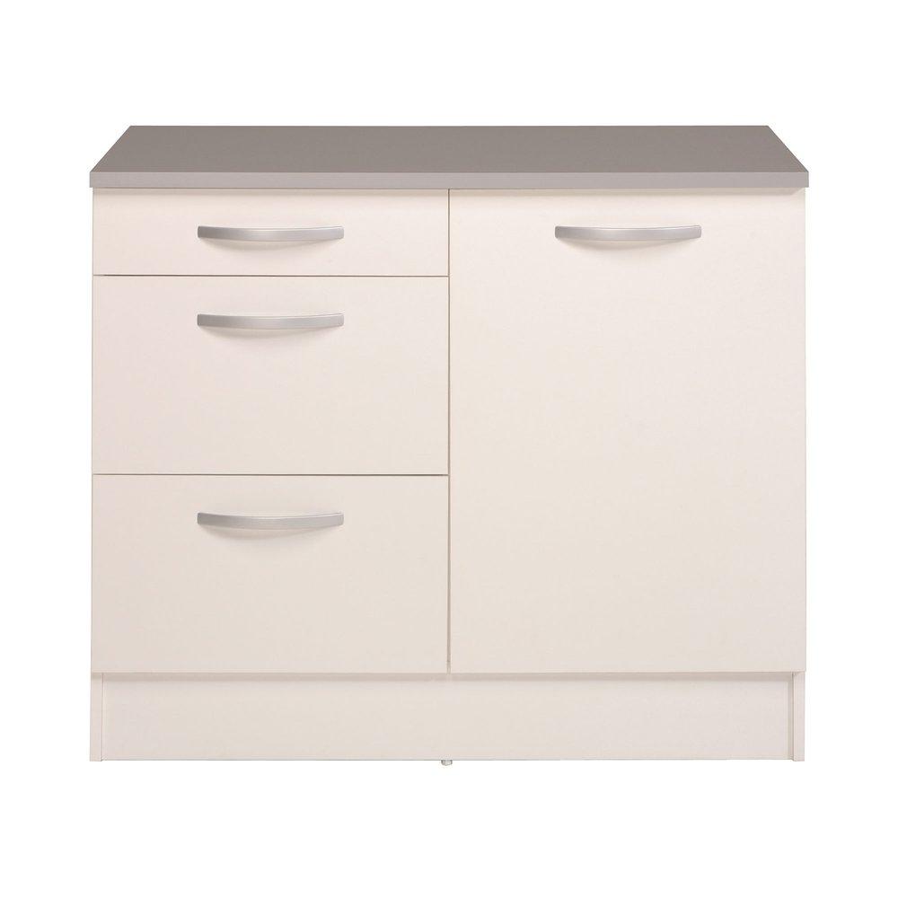 meuble sous evier 100x60x86 cm blanc et gris marina