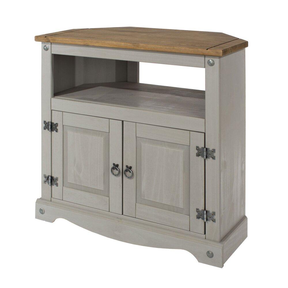 meuble tv d angle 2 portes et 1 niche gris et naturel sergo