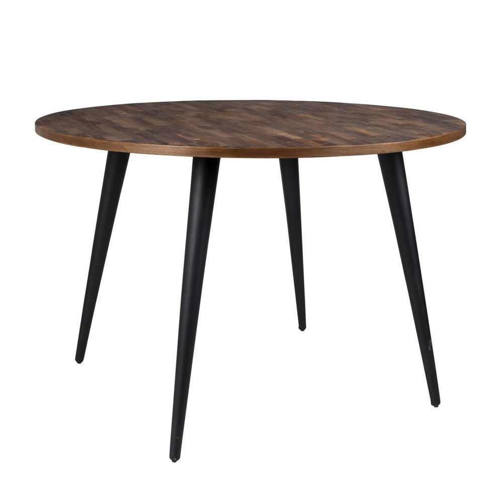 table a manger ronde 110 cm en teck recycle et metal alen