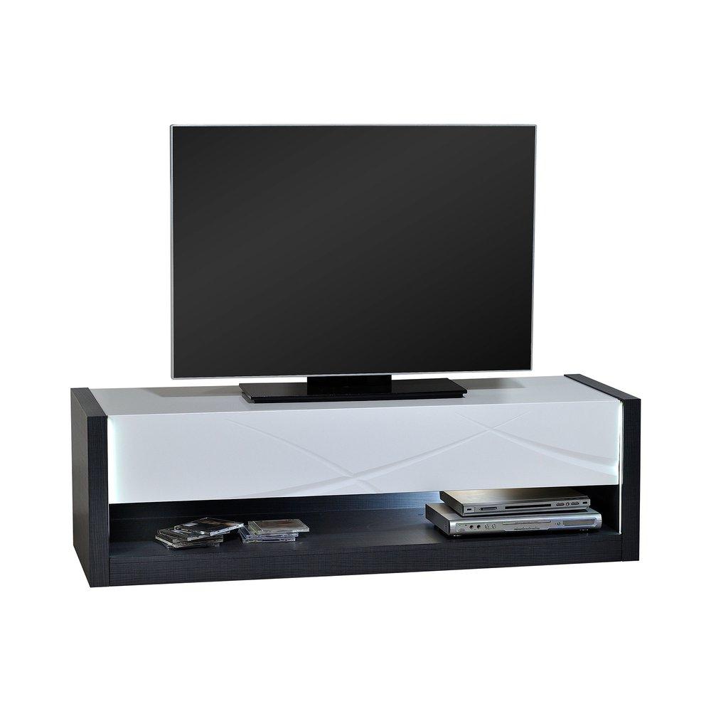 meuble tv 150x50x45 cm noir et blanc brillant avec leds aloys