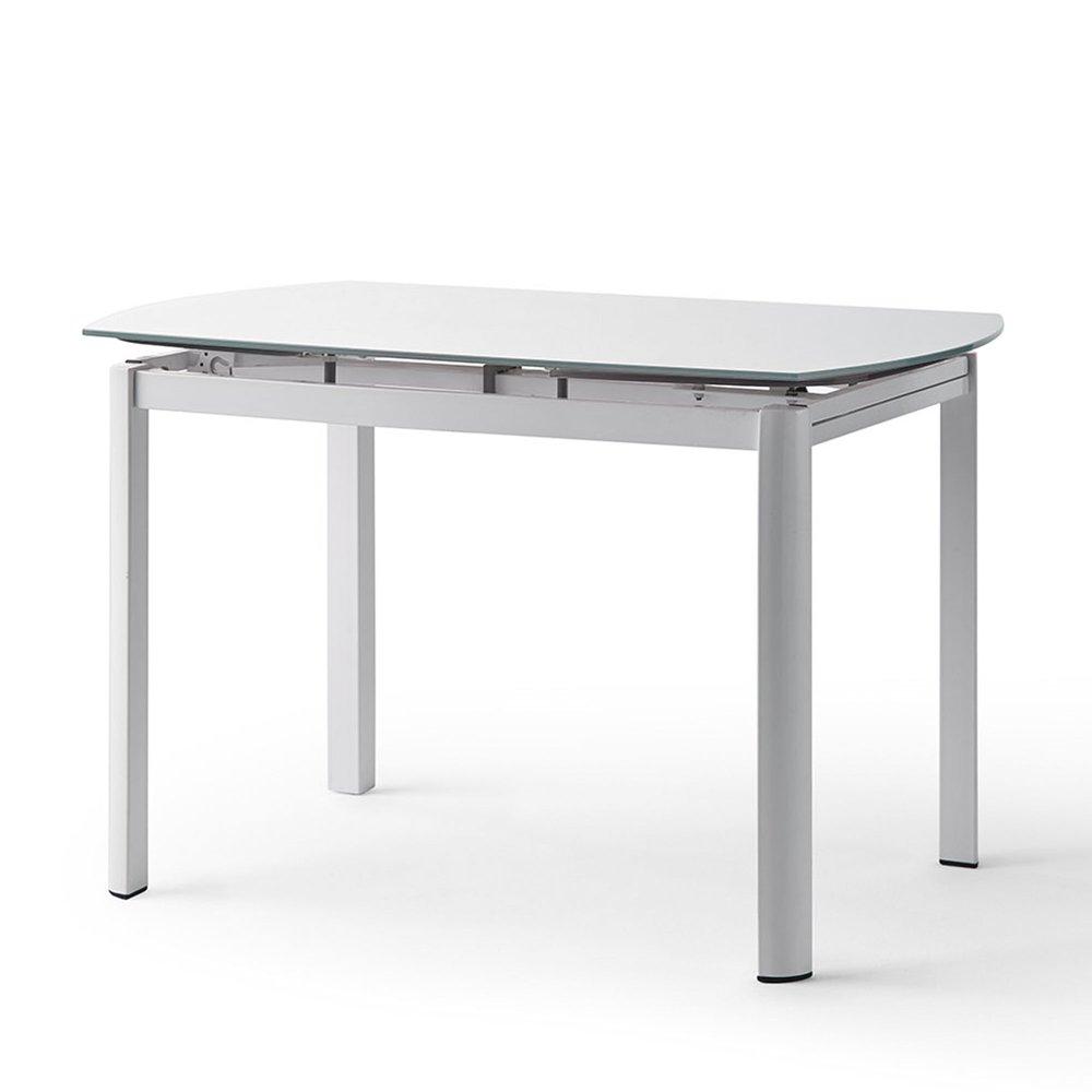 table a manger extensible 120 180 cm en verre blanc et pieds en metal