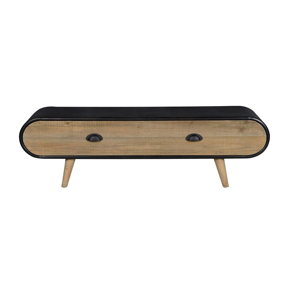 meuble tv 1 tiroir 120x35x36 cm naturel et noir anny
