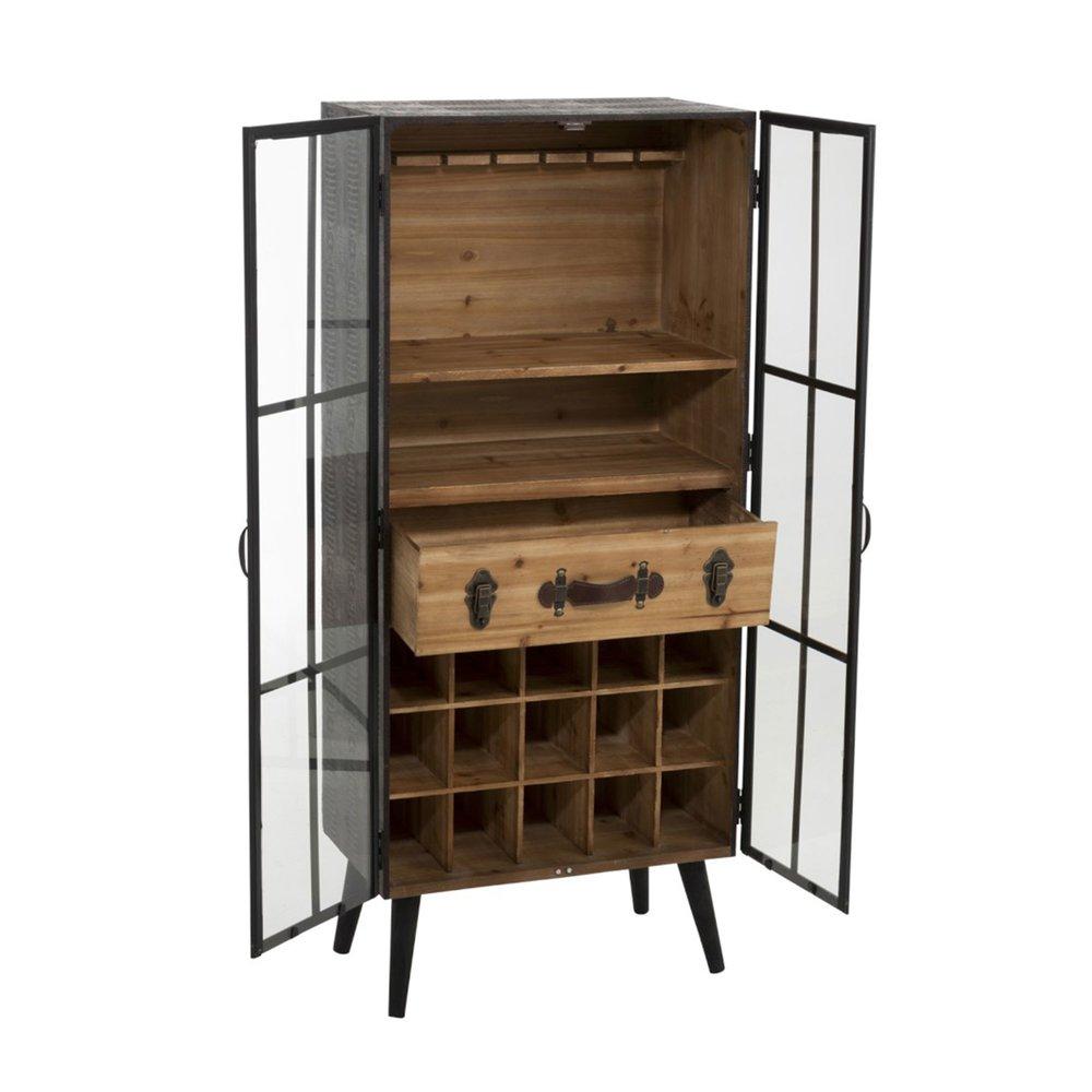 meuble range bouteilles avec 2 portes 60x36x140 cm en sapin et metal