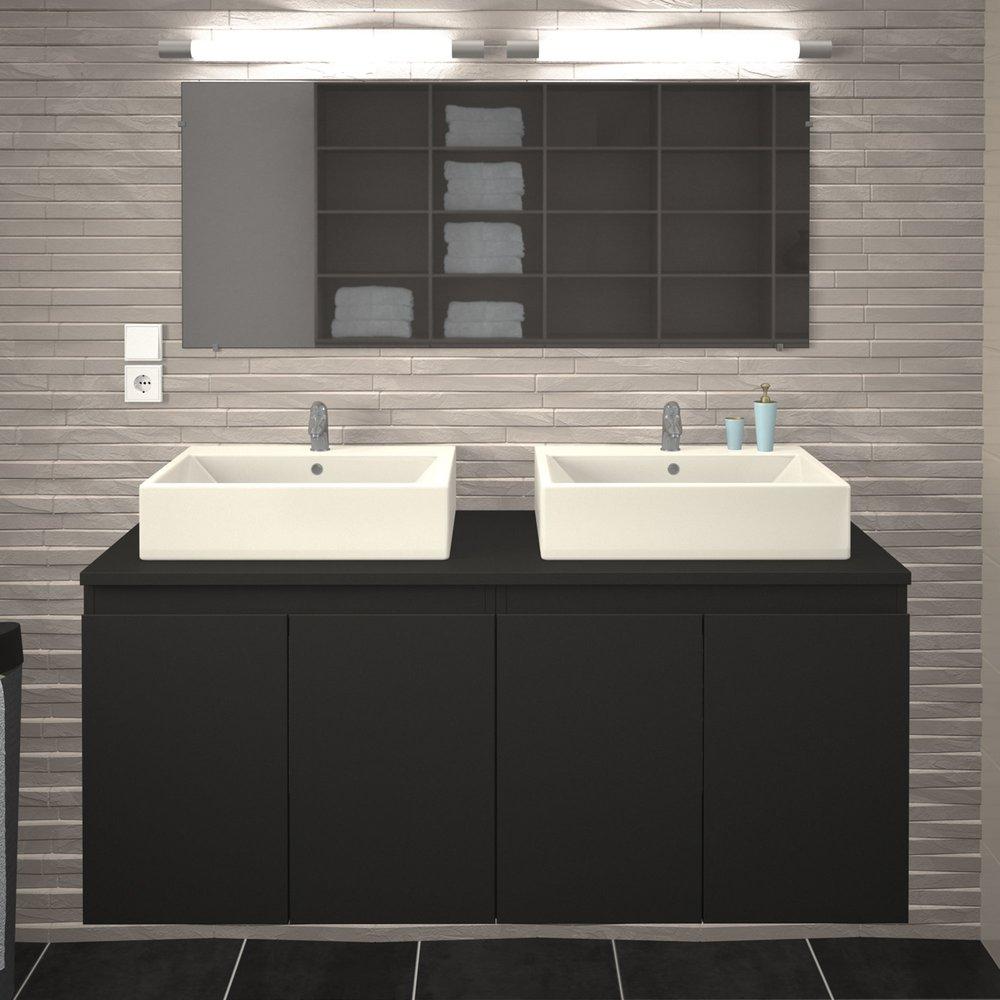 ensemble meuble 120 cm 2 vasques laque gris mat scala