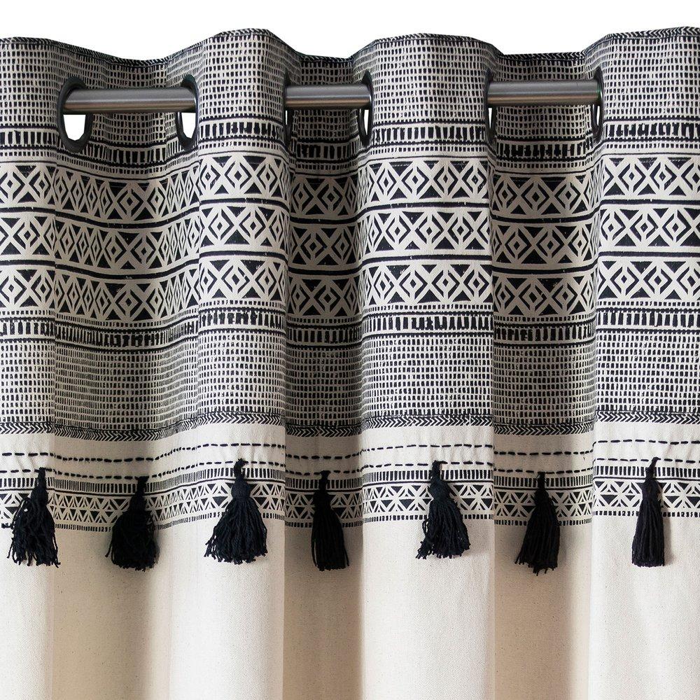 rideau a oeillets imprime 135x250 cm noir et blanc afrika