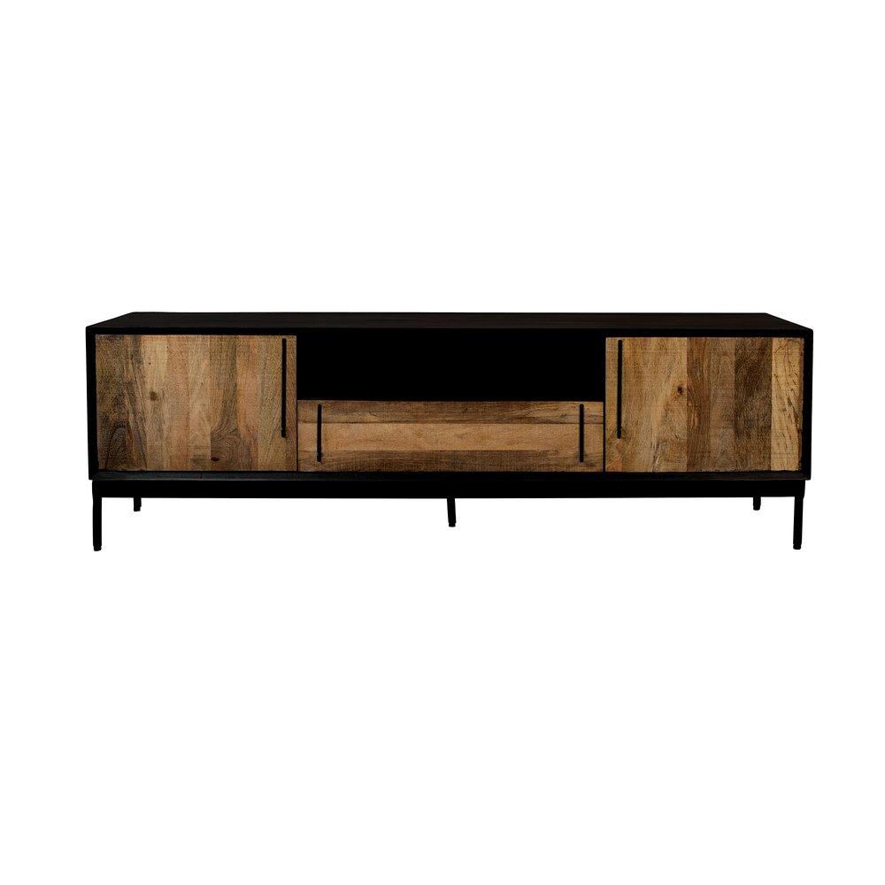 meuble tv 2 portes et 1 tiroir 160x40x50 cm en acacia et fer