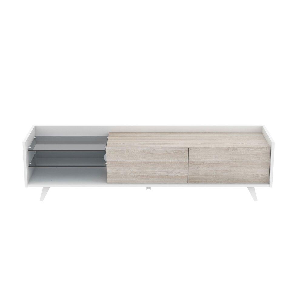 meuble tv 2 tiroirs 160 5x42x42 5 cm blanc et chene clair