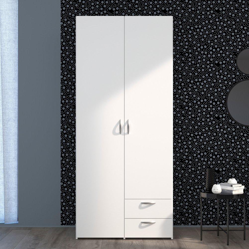 armoire 2 portes et 2 tiroirs blanc kelsy