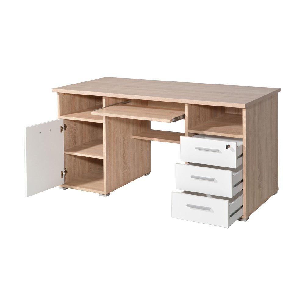 bureau 1 porte et 3 tiroirs 145x70x75 cm chene sonoma et blanc moka